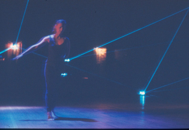 Preview - Dance figure close in blue laser - slide